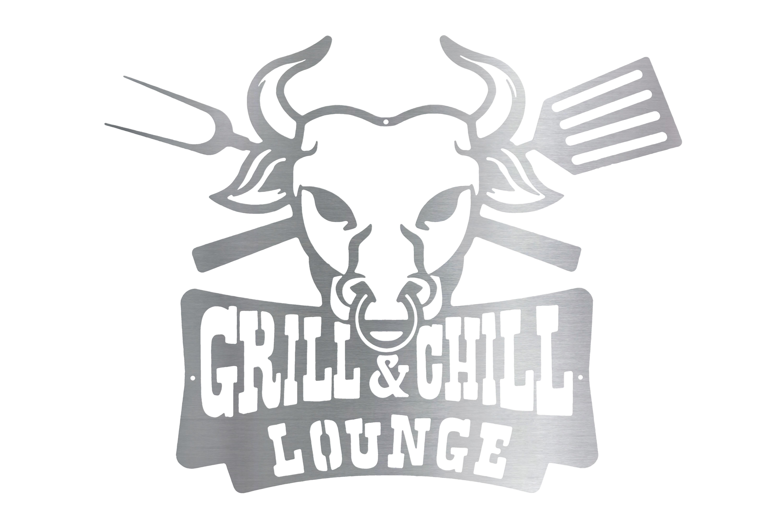 Schild Grill&Chill Lounge aus Edelstahl