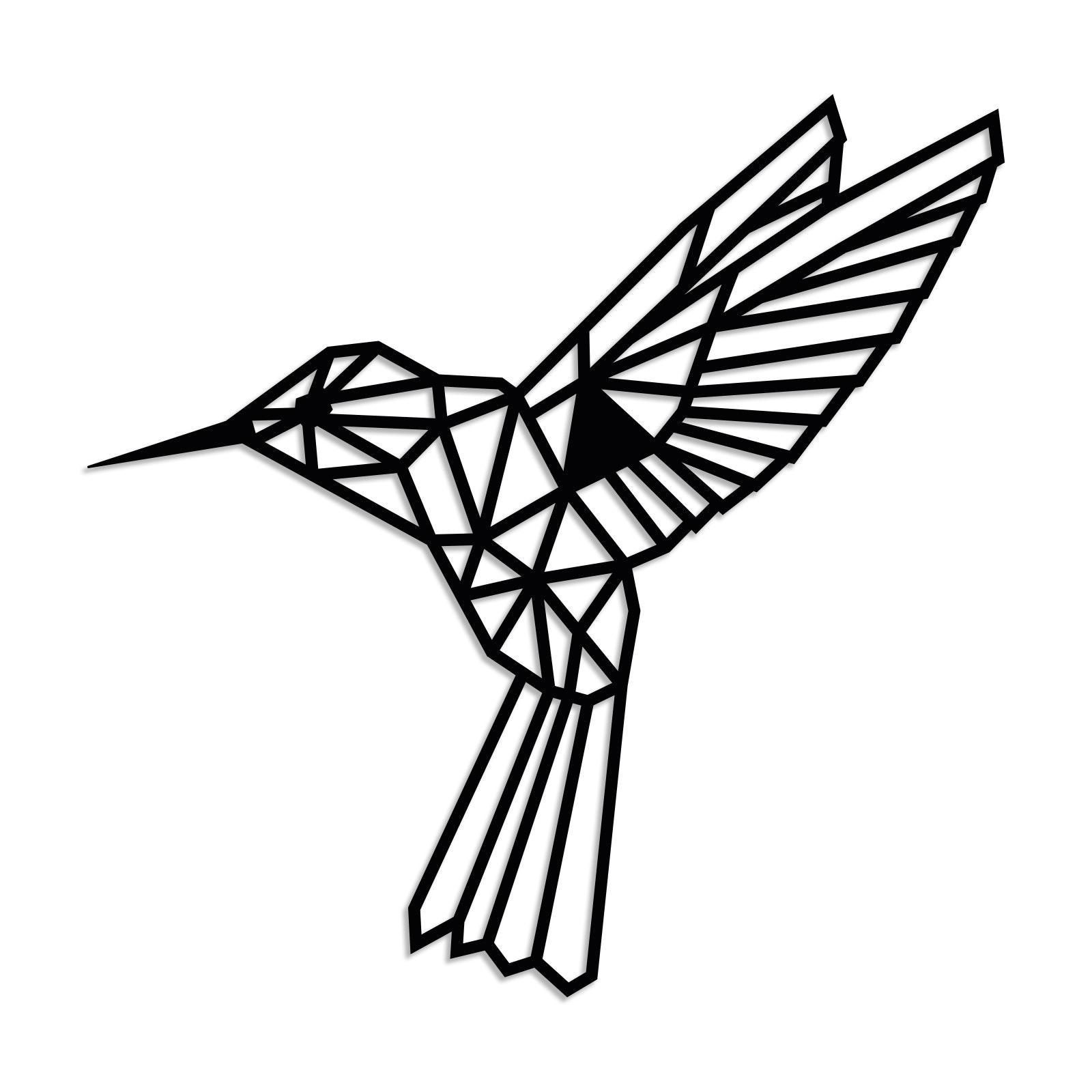 Geometrischer Kolibri L in Schwarz