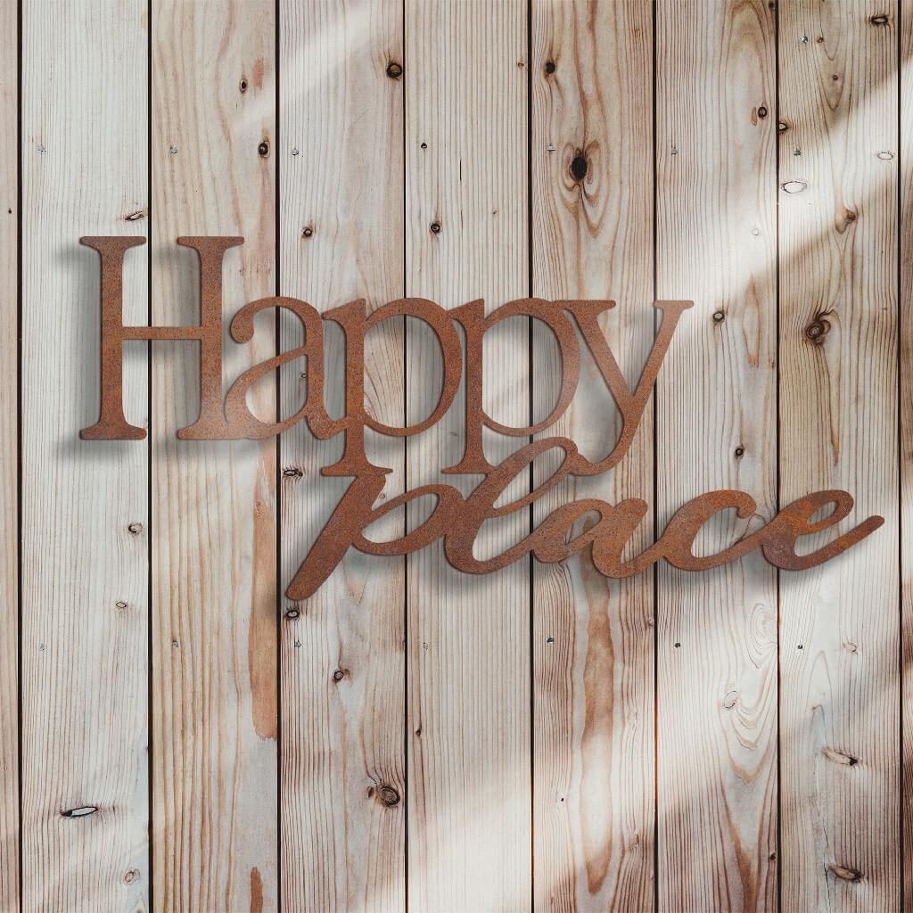 Schild Schriftzug - Happy Place - in Edelrost-Optik