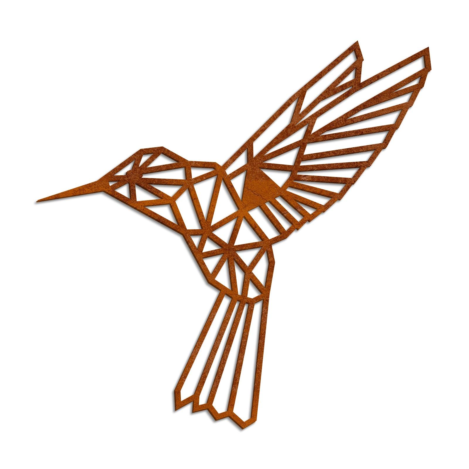 Geometrischer Kolibri XL in Edelrost