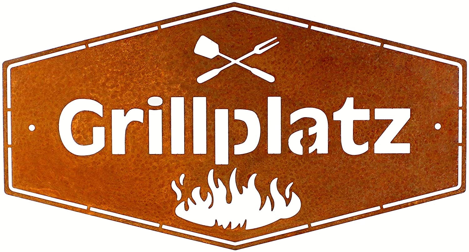 Schild Grillplatz in Edelrost-Optik L