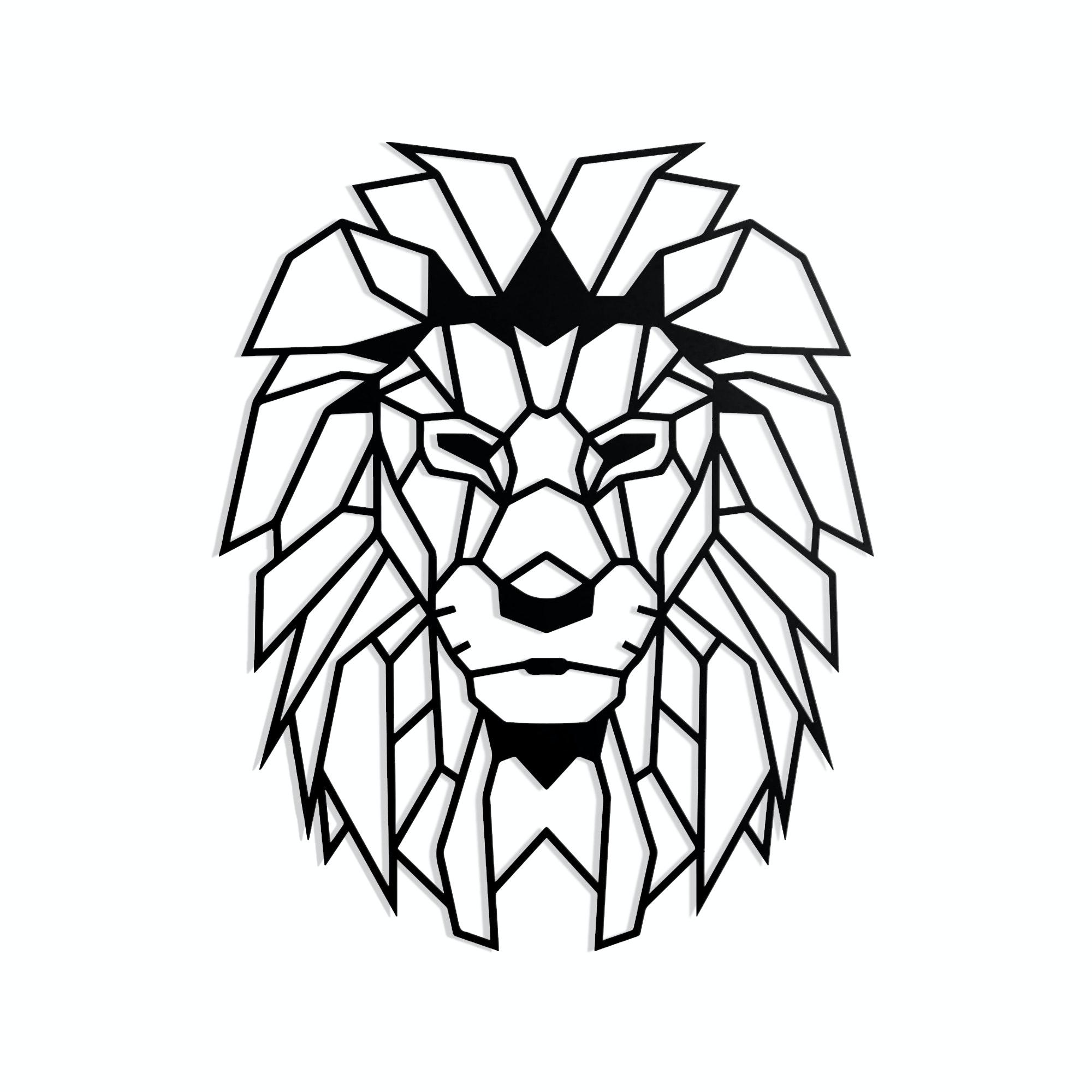 Geometrischer Löwenkopf schwarz in XL