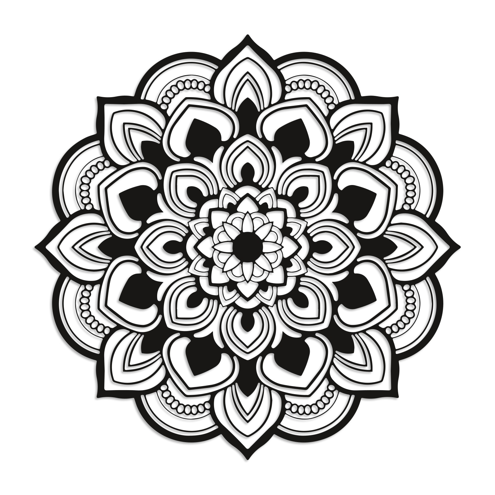 Geometrisches Mandala-Wandbild (rund) in schwarz