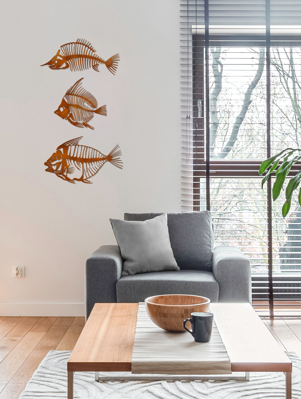 3er Fisch-Set in Edelrost-Optik