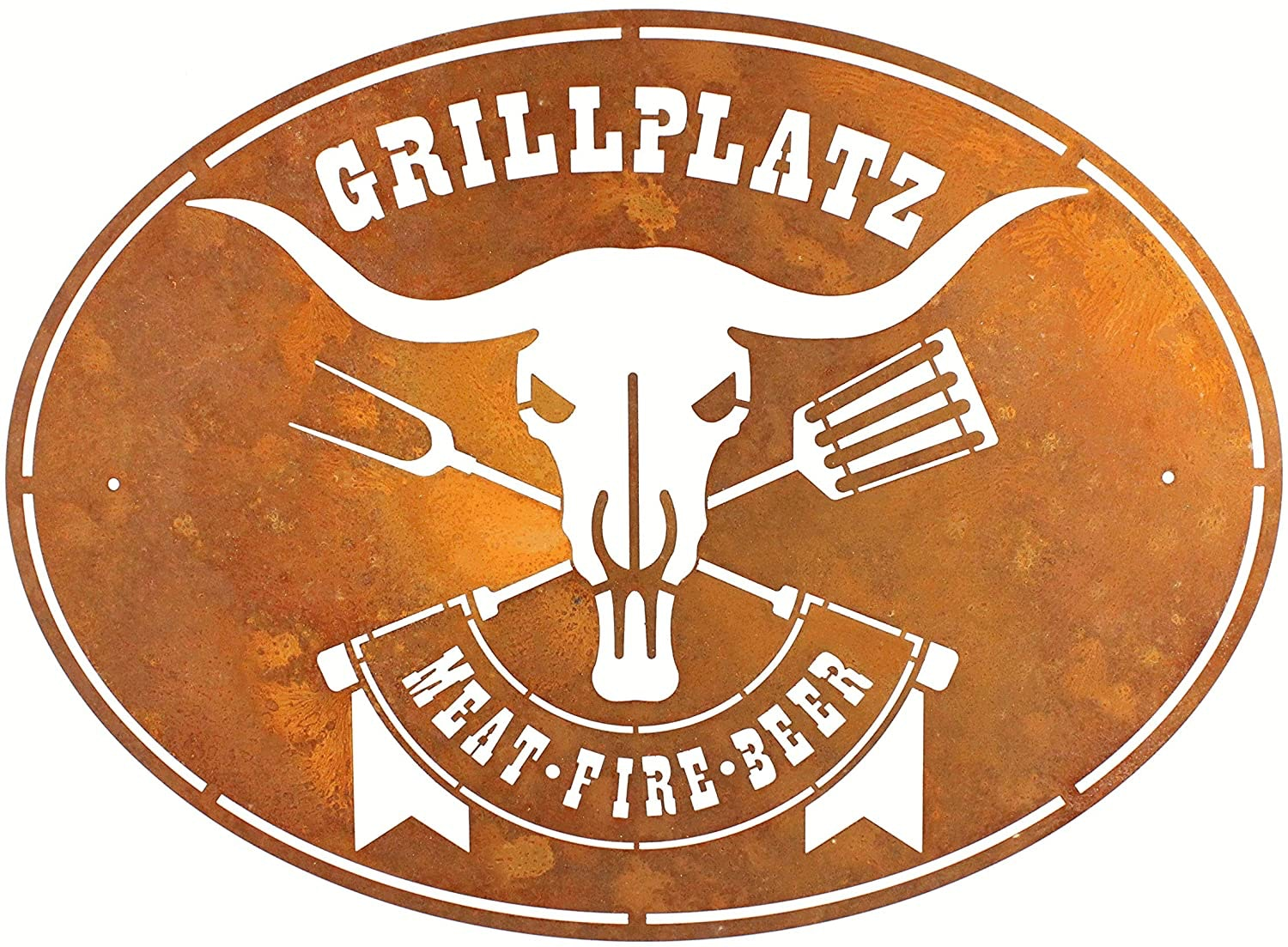 Grillplatz Meat-Fire-Beer in Edelrost-Optik