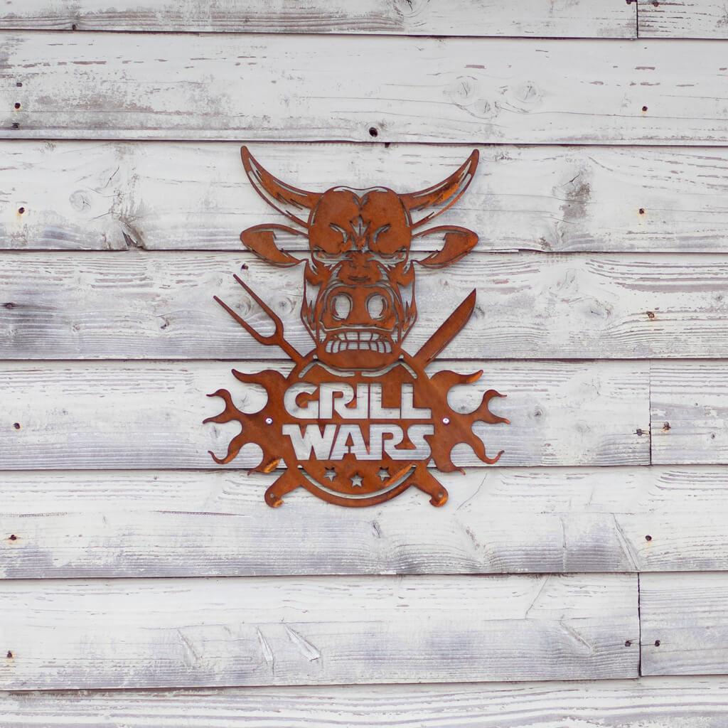 Schild Grillwars in Edelrost-Optik