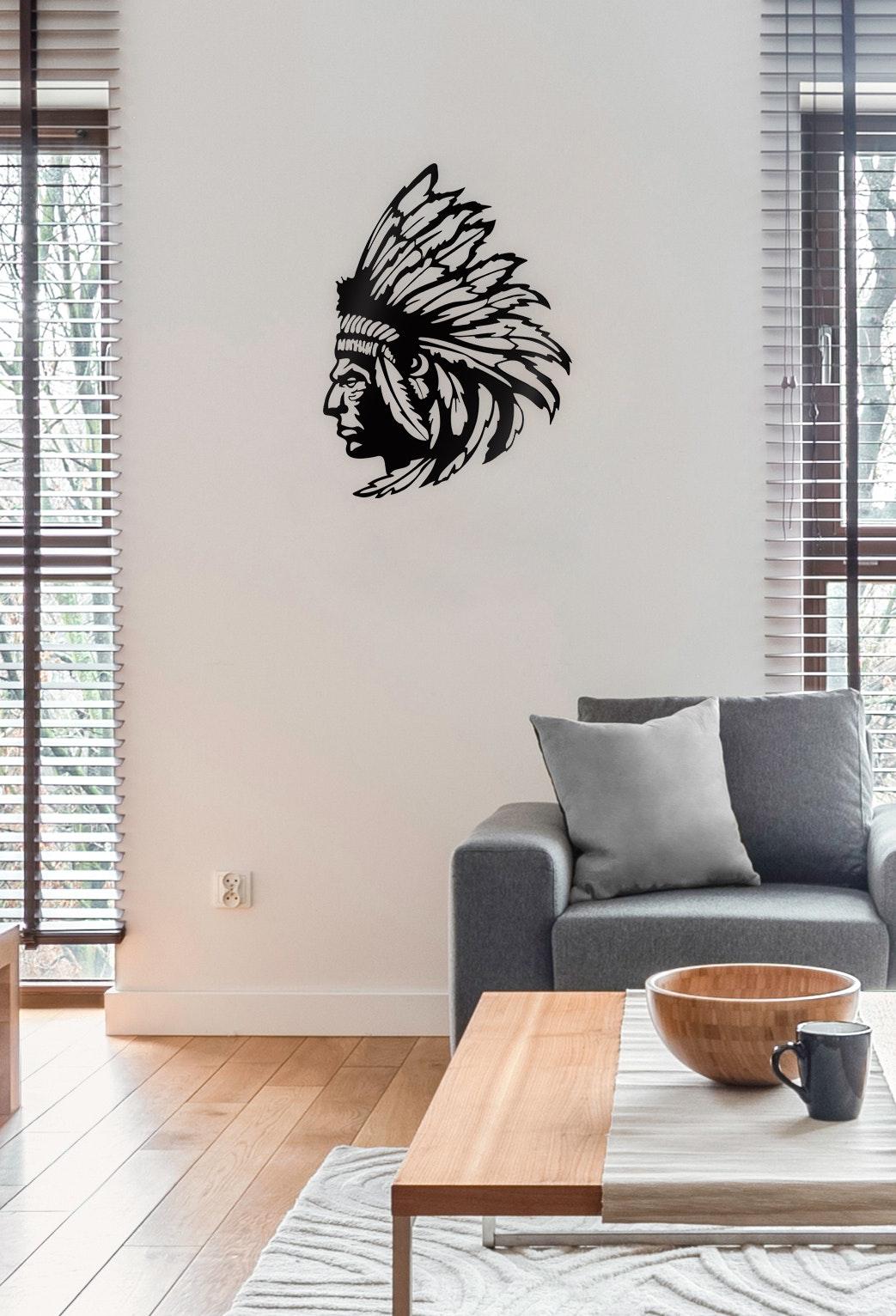 Indianerkopf L in Schwarz