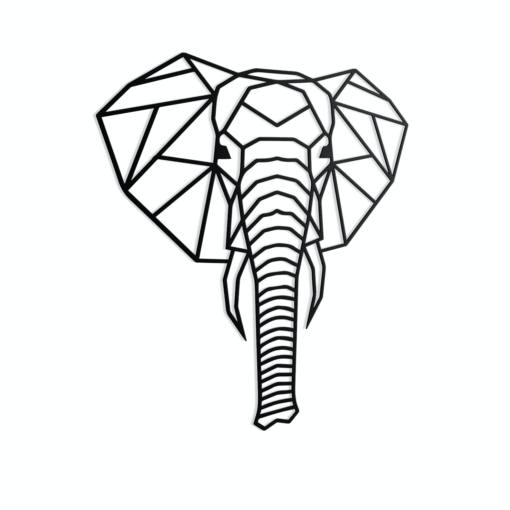 Geometrischer Elefantenkopf schwarz in L