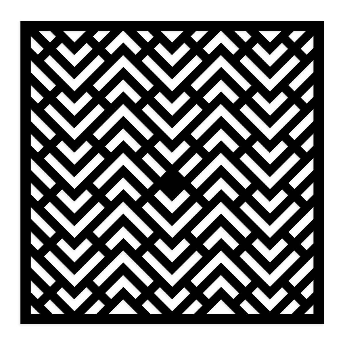 Geometrisches Muster-Wandbild (quadratisch) in schwarz