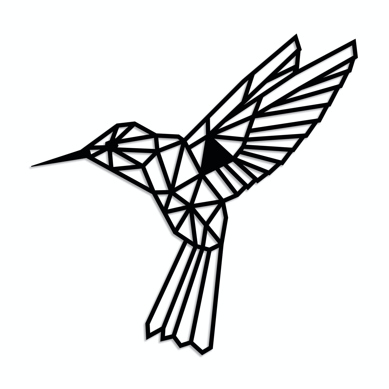 Geometrischer Kolibri XL in Schwarz